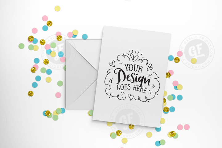 Pastel confetti greeting card mockup with smart objects PSD (portrait) 0009-21