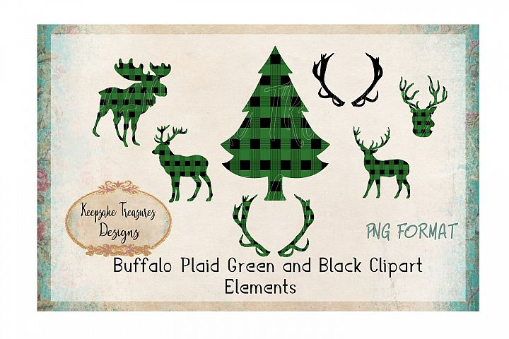 Buffalo Plaid Green and Black Deer Elements