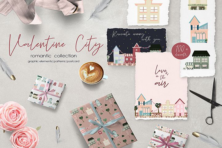 Valentine City.Patterns and card