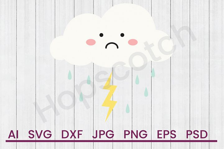 Cloud SVG, Thunderstorm SVG, DXF File, Cuttatable File