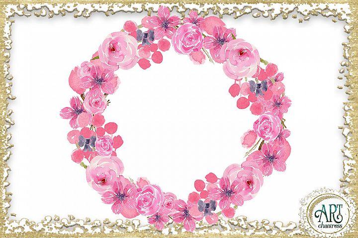 Watercolor Floral pink wreath - 2 arrangements example 1
