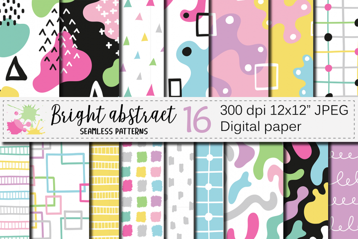 Seamless bright abstract patterns, Hand drawn digital papers