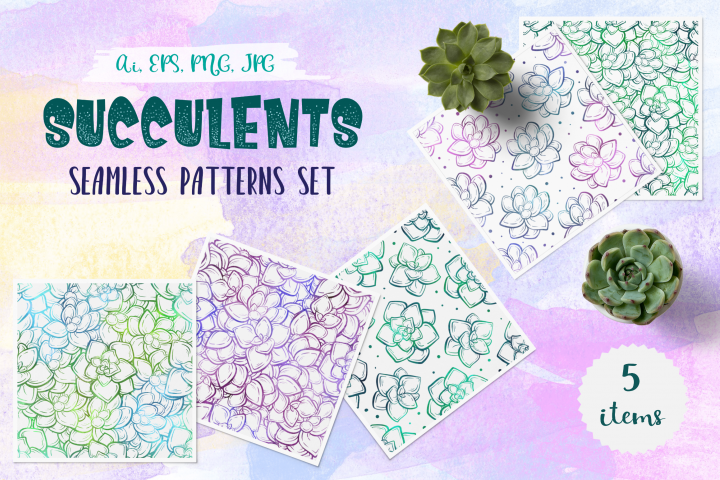 Succulents seamless patterns set
