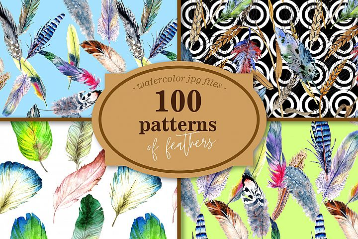 100 patterns of feather JPG watercolor set