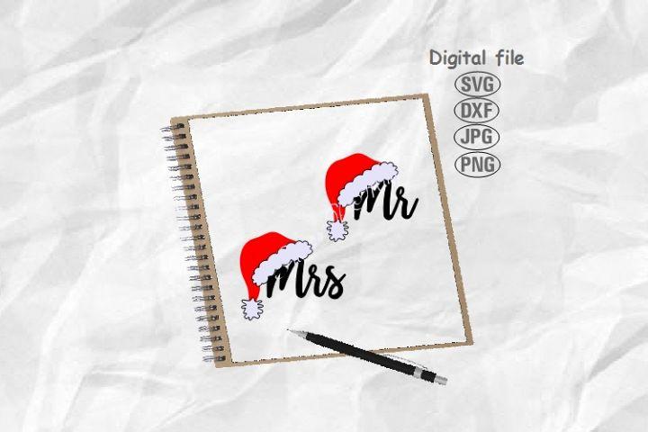 Santa Hat Svg, Mr and Mrs Svg,Wedding Svg,Christmas Matching
