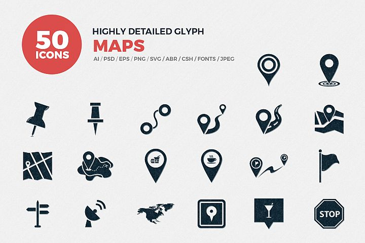 Glyph Map Icons Set