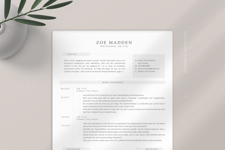 Sophisticated and Modern Resume Template, Professional CV