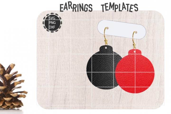 Christmas Bulb Earrings Svg, Christmas Earrings Svg Template