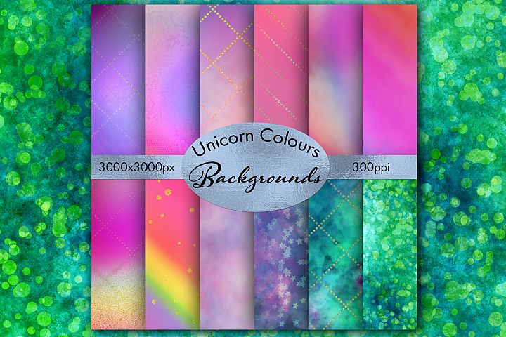 Unicorn Colours Backgrounds - 12 Image Set