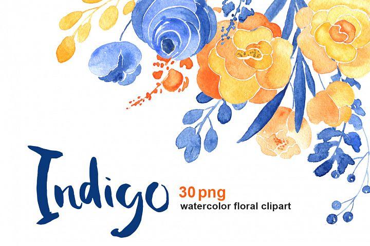 Watercolor blue & orange flowers