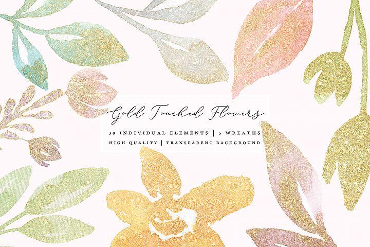 Gold glitter pastel watercolor flowers, gold glitter leaves