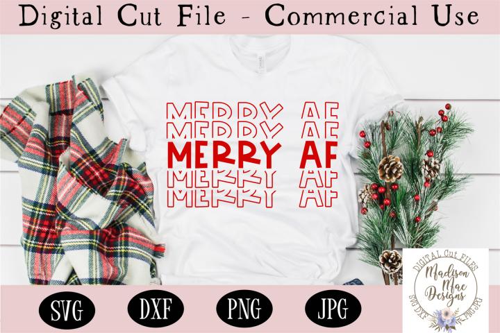 Merry AF SVG, Stacked Word SVG, Christmas SVG