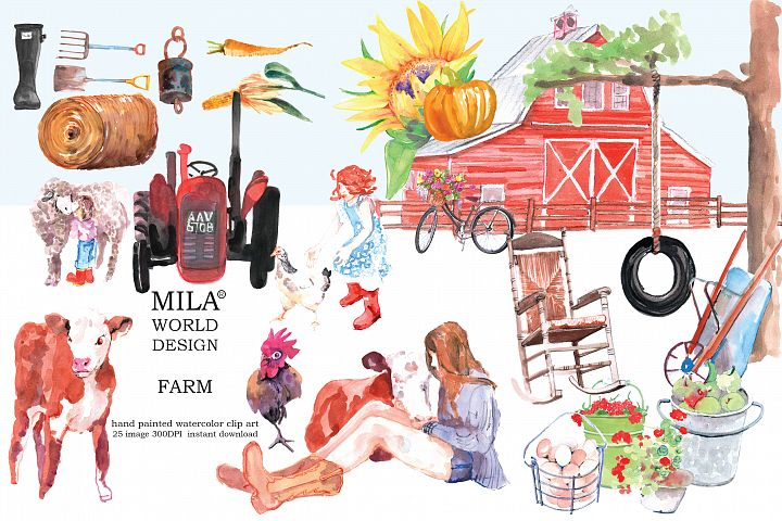 Watercolor Farm clipart