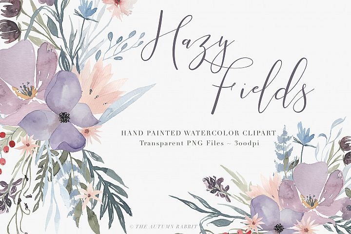 Watercolor Floral Clipart - Hazy Fields