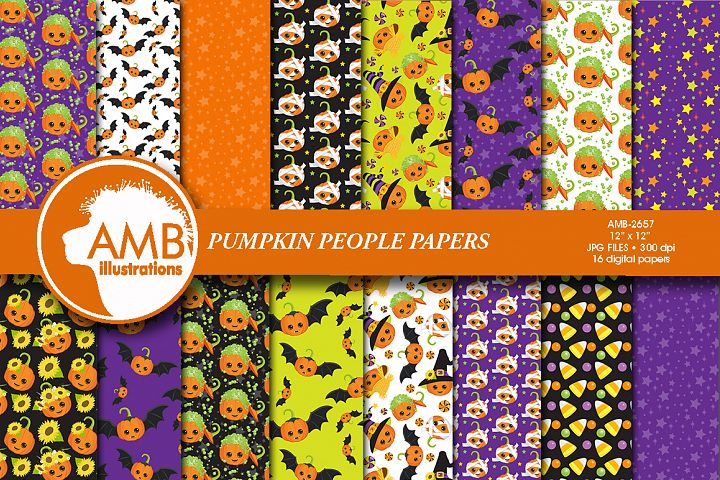 Cute pumpkin people patterns, Halloween papers AMB-2657