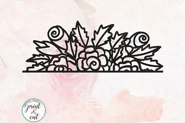 Hand drawn Simple Floral Border papercutting lasercutting