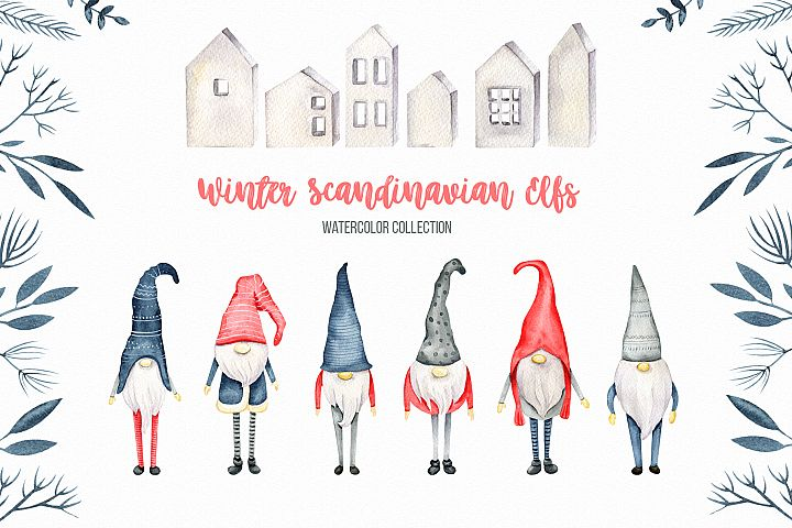 Winter Scandinavian Elfs, Nordic decor clipart watercolor