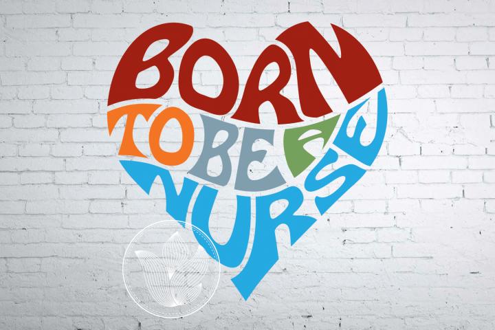 Born to be a nurse word art heart