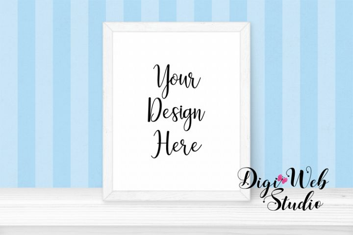 Baby / Nursery Mockup - White Frame on Shelf w/ Wallpaper