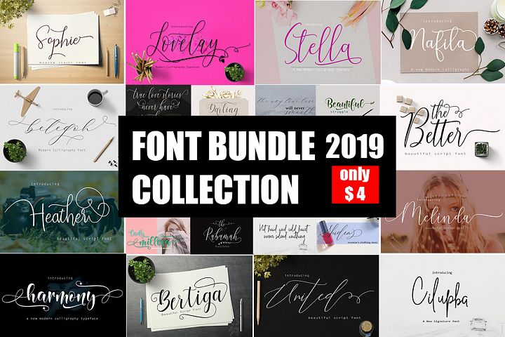 Font Bundle Collection 12 in 1