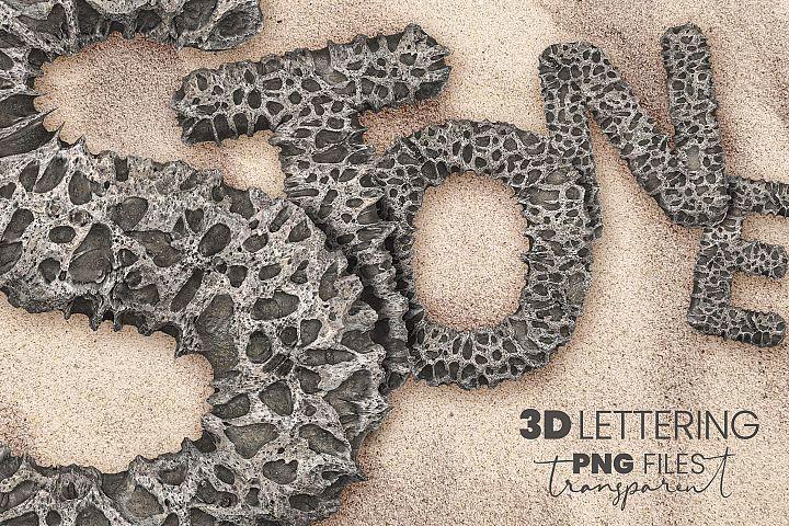 Porous Stone 3D Letters