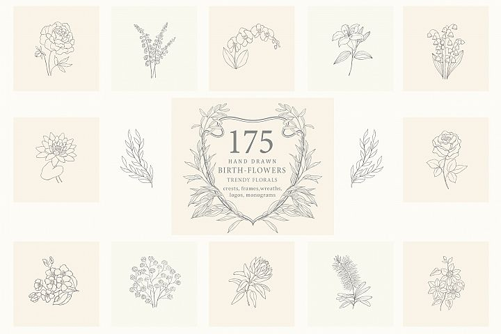 Birth-Flowers. Trendy Plants, Logos.