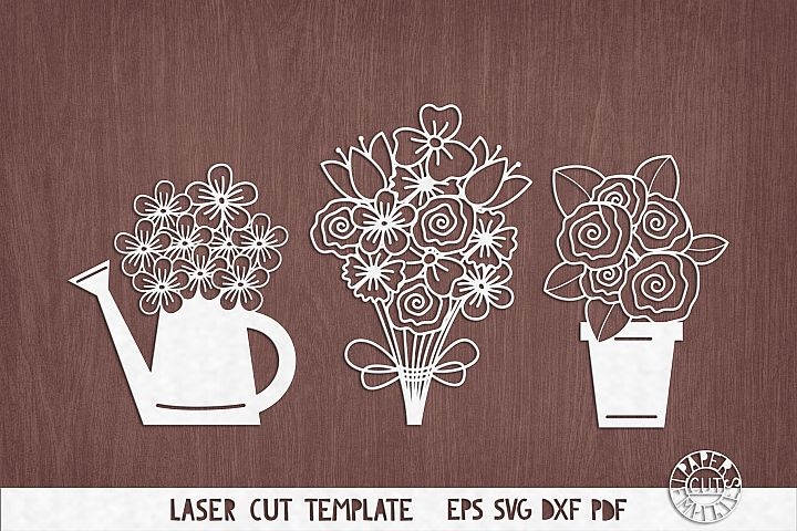 SVG Set of flowers for Cricut. Watering can with flowers.