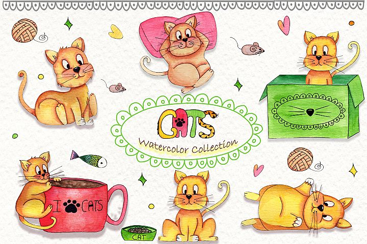 Lazy Cats Wattercolor Illustrations example