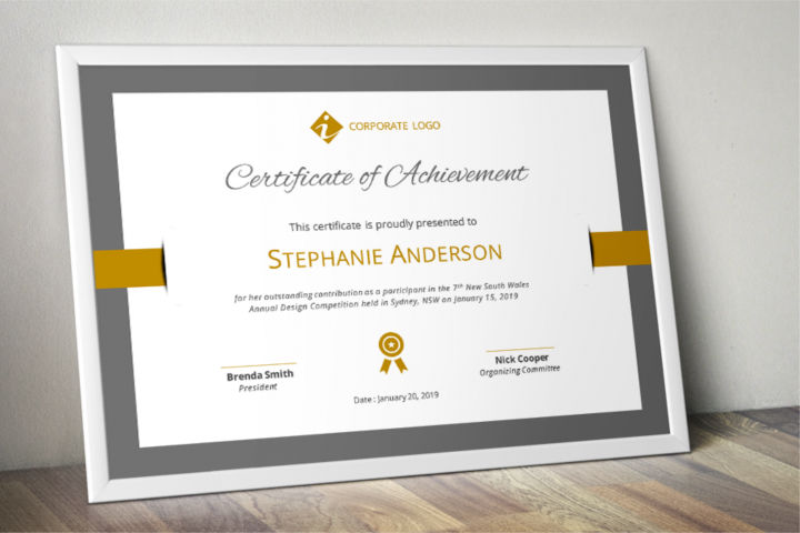 Bar Border Modern Word Event Certificate Template