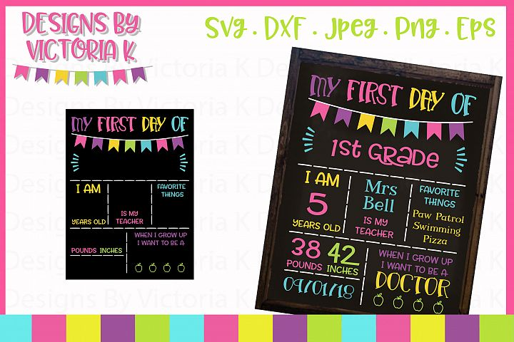 Back to school board, chalkboard style SVG Cut File