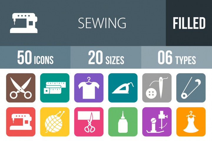 50 Sewing Filled Round Corner Icons
