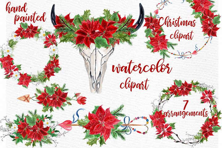 Watercolor Christmas Clipart, CHRISTMAS WREATHS,Boho clipart