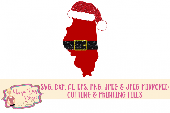 Illinois Santa SVG, DXF, AI, EPS, PNG, JPEG
