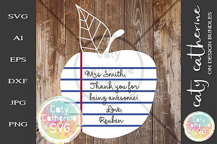 Apple Ruled Paper Thank You Teacher Teachers Day SVG