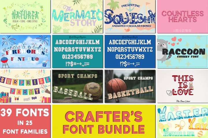Sale! Crafters Huge Font Bundle - 25 Font Families & Bonus