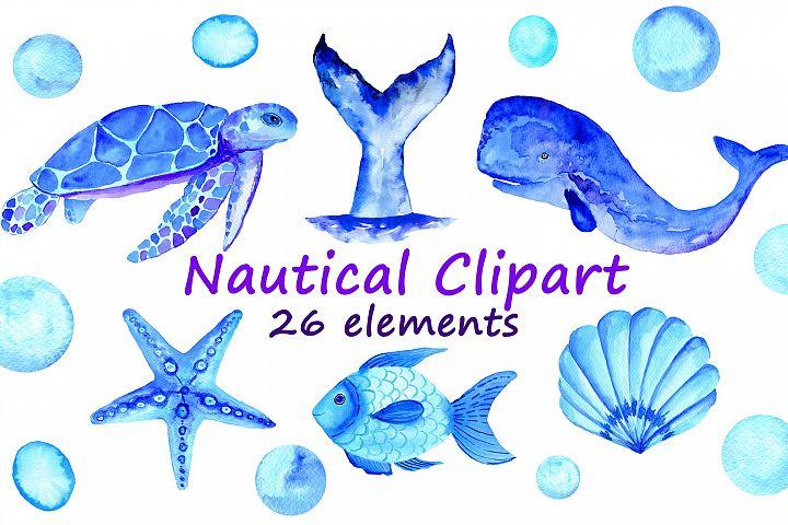 Watercolor blue nautical clipart