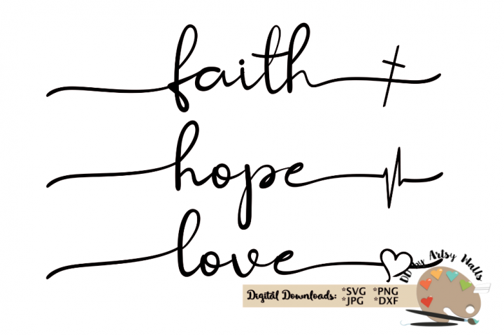 faith hope love svg Christian faith silhouette cricut file