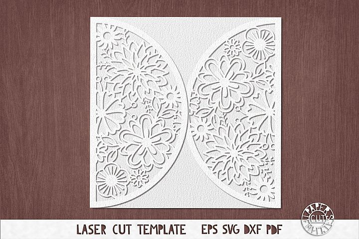 SVG Template of wedding card cut file for Cricut, laser cut.