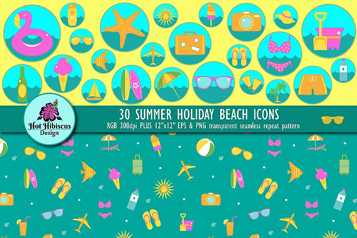 Summer Holiday Surf and Beach Icons and Pattern Bundle