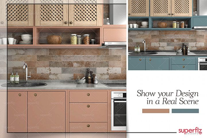 Kitchen PSD Mockup to change WALL and CABINET surface SM78