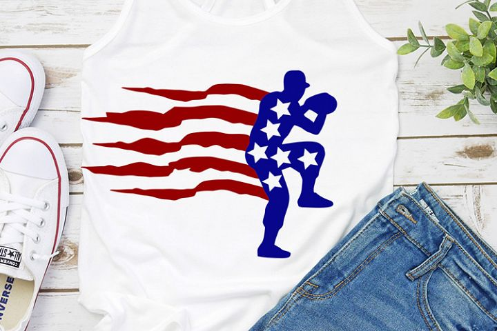 Baseball silhouette american flag
