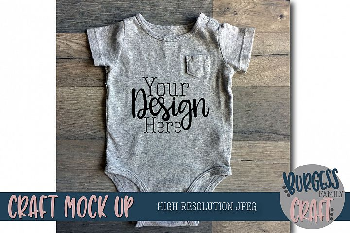 Baby bodysuit Craft Mock up | High Resolution JPEG