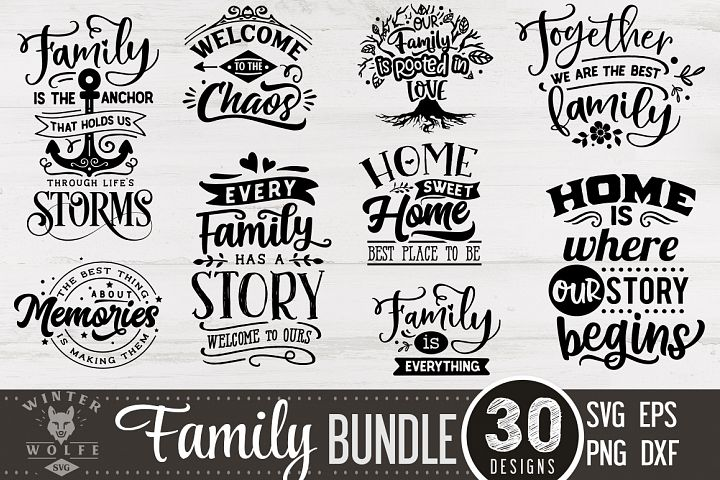 Family Bundle 30 designs SVG EPS DXF PNG