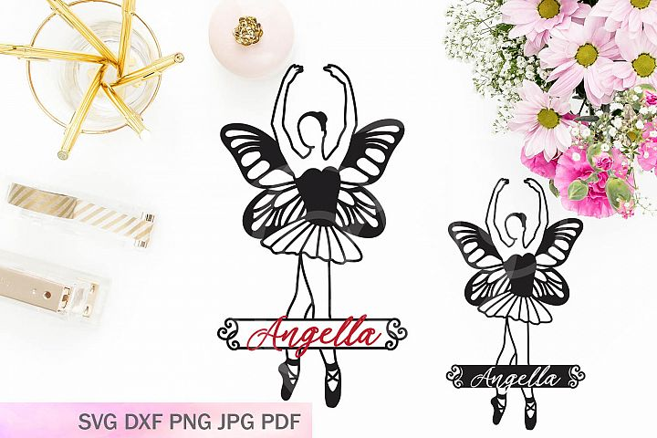 ballerina with butterflies wings monogram papercut file svg
