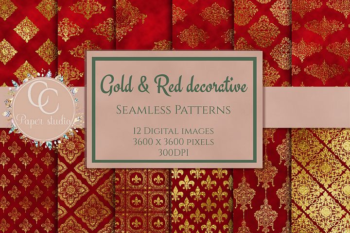 Gold and Red damask digital paper