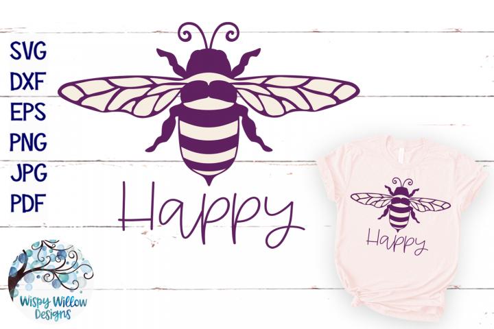 Bee Happy SVG   Bee SVG Cut File