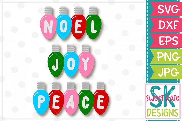 Christmas Light Bulbs Noel Joy Peace SVG DXF EPS PNG JPG