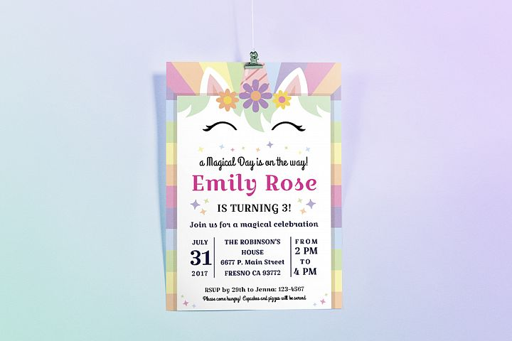Happy Unicorn Birthday Party Invitation
