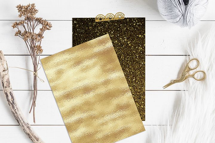 Gold Foil and Glitter Textures - Metallic Digital Papers example 5