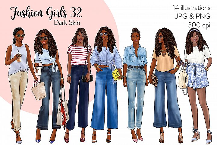 Fashion illustration clipart - Fashion Girls 32 - Dark Skin